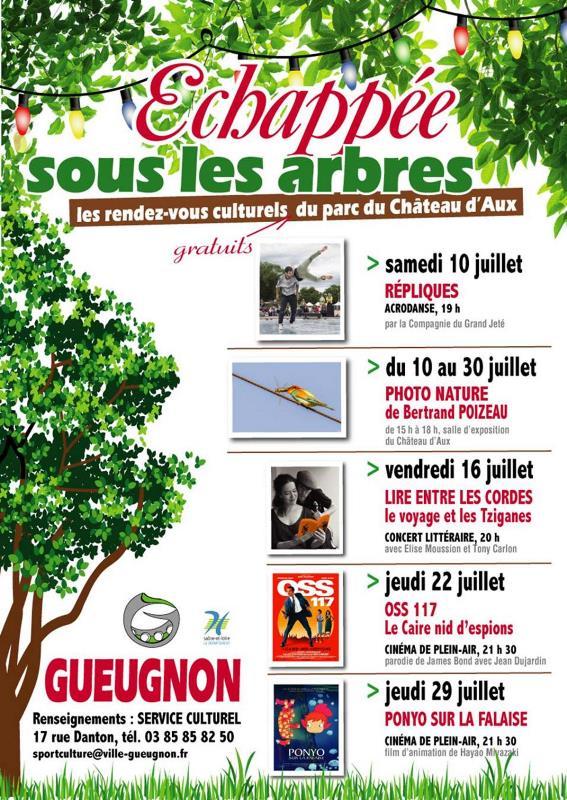 Liste des spectacles dans le cadre de Echapée sous les arbres
